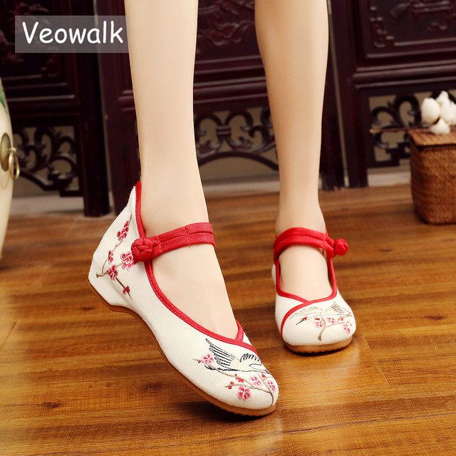 764ccf6ba01d Veowalk Vintage Crane Embroidered Women s Canvas Ballet Flats Ladies Casual  Breathable Chinese Embroidery Buckle ballerina Shoes