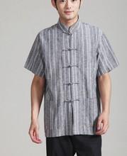 Promotion Gray Men's Linen Short-Sleeve Shirt Top Chinese New Kung Fu Tang Suit Mandarin Collar Costume S M L XL XXL XXXL