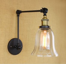 Edison Style Loft Vintage Industrial Lighting Wall Lamp With Long Adjustable Arm Wall Light Arandelas Wall Sconce american wall lamp industrial vintage loft style wall light for bedside wall sconce glass iron art edison e27 lighting fixtures