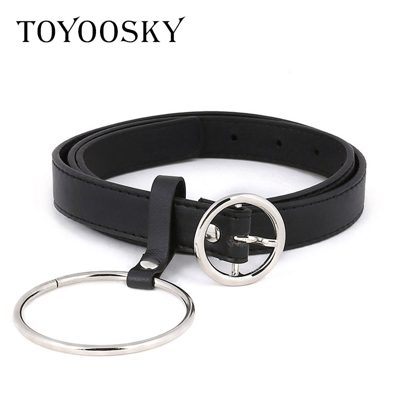 TOYOOSKY Cool tide Women Belts for Jeans PVC PU Leather Circle Ring Chain Pin Buckle Solid Thin Belts for Female Cinturon Mujer in Women 39 s Belts from Apparel Accessories