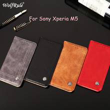 WolfRule Case sFor Sony Xperia M5 Cover Flip PU Leather Wallet Card Slot Bag For Sony Xperia M5 Phone Shell For Sony M5 E5603(China)