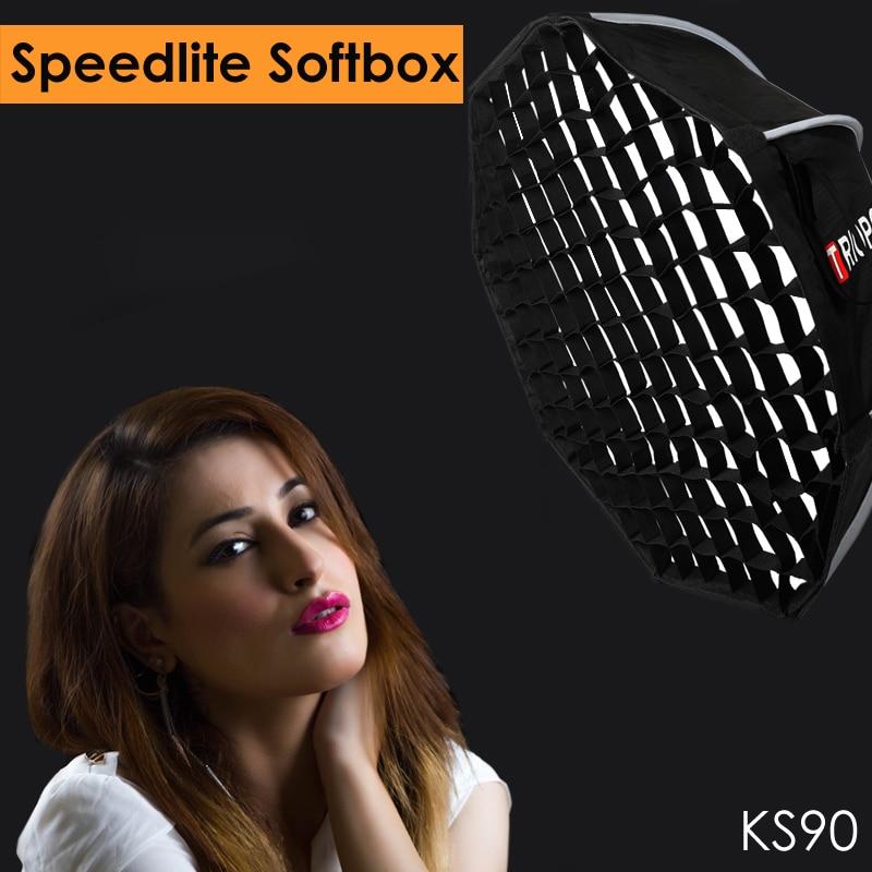 Triopo 90 см Speedlite софтбоксы портативный w/соты сетки Открытый восьмиугольный зонтик Flash софтбокс для Canon Nikon sony Godox