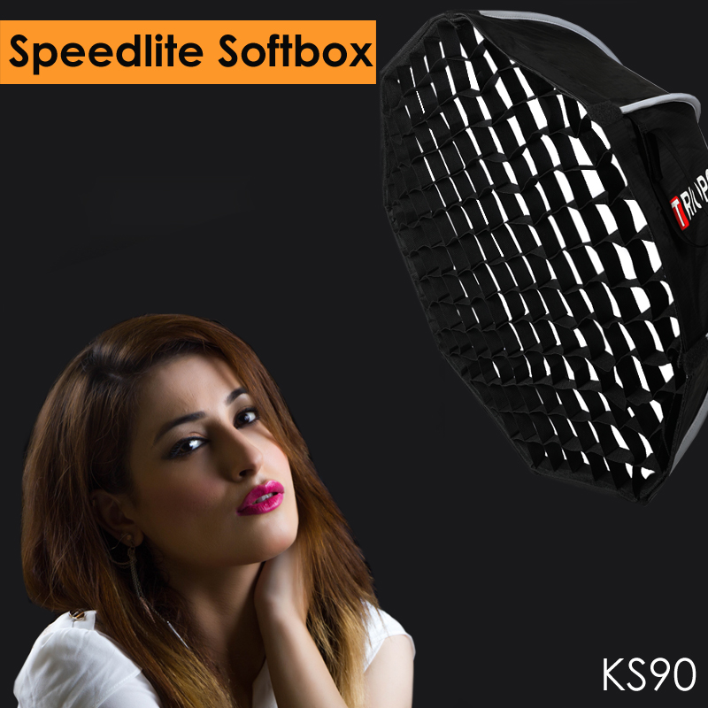 Triopo 90cm Speedlite Softbox Portable W Honeycomb Grid