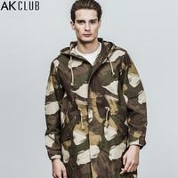 AK CLUB Brand Jacket M 51 Medium Long Length Hooded Jacket Camouflage 100% Cotton Coat Adjustable Waist Army Men Jacket 1804704