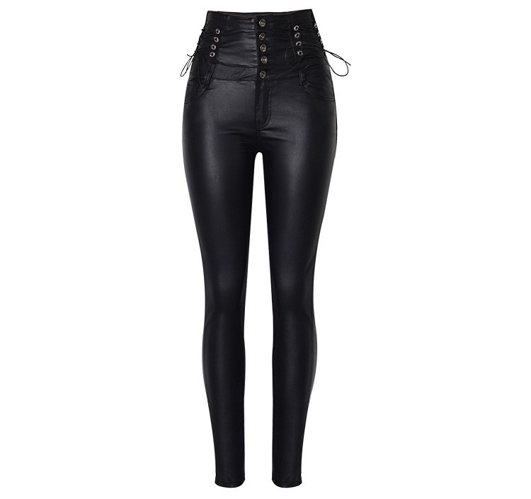 Stretch jeans stretch jeans for women\`s wear ultra high waist strap decorative coating leather stretch jeans PU large size (6)