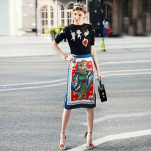 Milan Catwalk New High Quality Runway 2018 Spring Summer Fashion Party Women'S Star Print Poker Skirts Embroidery T-Shirt Set