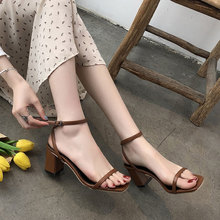 BORRUICE Summer Women Thick High Heels Sandals Ankle Strap Pumps Shoes Wild Square  Open-Toed Roman Lady Sandalias Mujer