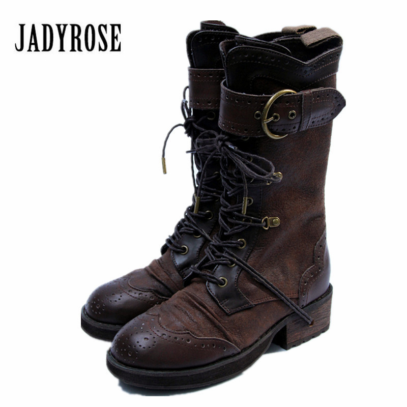 Jady Rose Retro British Women Martin Boots Genuine Leather Lace Up High Boots Female Designer Straps Platform Botas Mujer jady rose vintage brown women genuine leather mid calf boot chunky high heel platform boots straps buckle decor martin botas