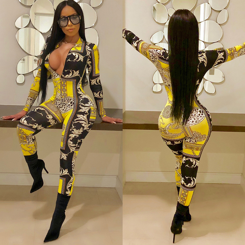 Hot Sell Front Zipper Deep V Neck Sexy Jumpsuits Women Full Sleeve Bodycon Catsuits Spring Vintage Gold Print Party OverallK8589