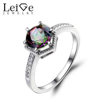 Leige Jewelry Mystic Topaz Engagement Ring Sterling Silver 925 Round Cut Gemstone Jewelry Rainbow Topaz Promise Rings - DISCOUNT ITEM  45 OFF Jewelry & Accessories