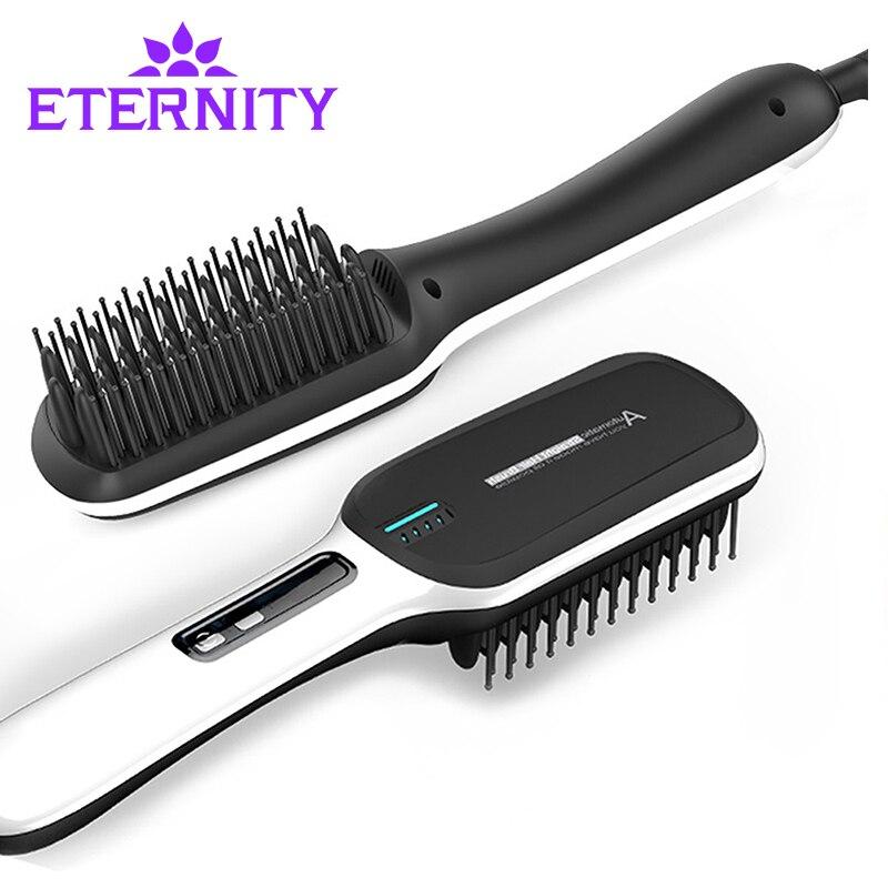 Cheveux de redresseur de cheveux de fer Professionnel Rapide Universel Tension En Céramique Électrique Défrisage brosse Styling Outil ET-16