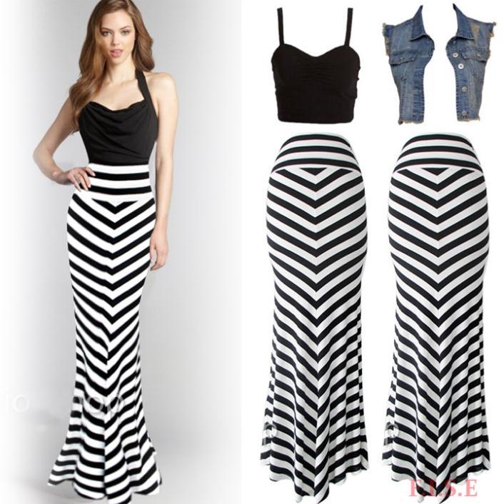 Aliexpress.com : Buy Women Long Striped Vintage Skirt Black White ...