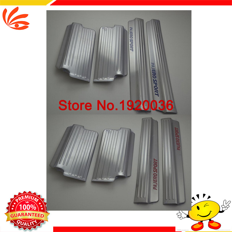 Car styling Interior welcome pedal door sill Stainless steel door sill Internal threshold stickers For PAJERO