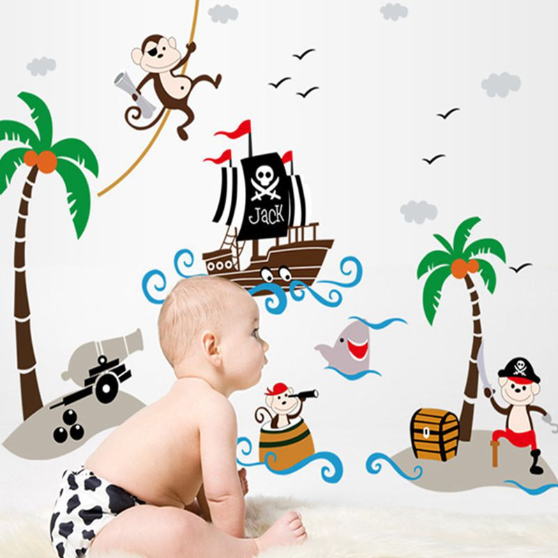 Removable Corsair Ship Cheeky Monkey Coconut Tree Bathroom Kids Children  Baby Nursery Wall Sticker Home Decor