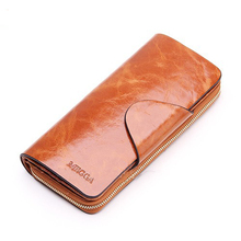 Men/women lovers first sales cowhide layer zipper wallets of genuine design