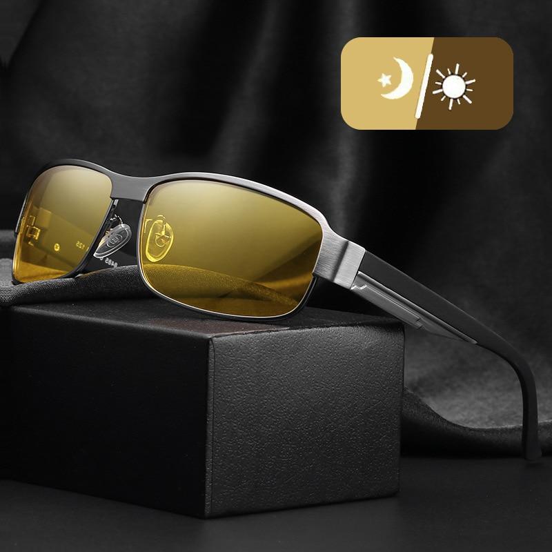 2019 Polarized Photochromic Sunglasses Rectangle Night Vision Driving Sun Glasses Grey Yellow