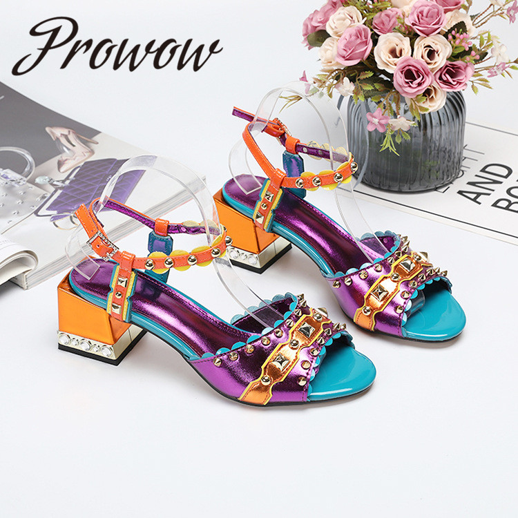 Prowow New Genuine Leather Metal Studded Summer Sandals Open Toe Crystal Heel HIgh Heel Sandals Shoes Women
