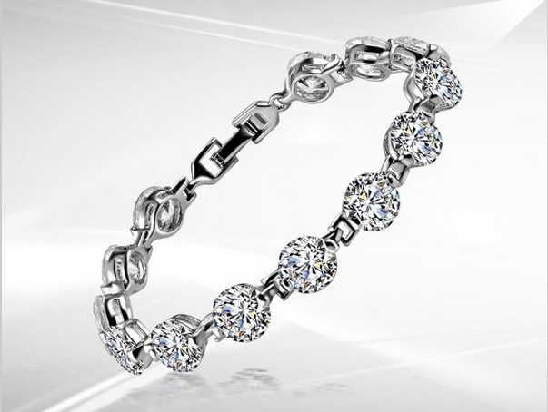 1ct Round Cut Brilliant Vvs1 Diamond Bracelet For Women 925 Sterling Silver Platinum Plated Engagement Bridal Jewelry In Bracelets Bangles From