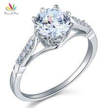 Павлин звезда 2 карат круглой огранки кольцо Твердые стерлингового серебра 925 Свадебные Юбилей Обручение CFR8098