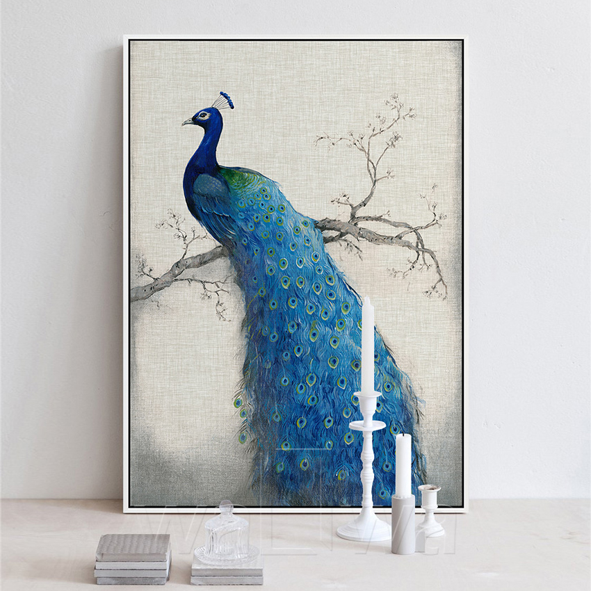 Canvas art beautiful blue peacock pictures painting for Blue paintings on canvas
