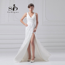 Wedding Dress 2016 SoDigne Side Slit Lace Pleats Keyhole Backless Deep V Neck Vestido De Noiva Romantic Elegant Bridal Gown
