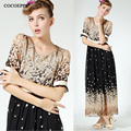 Fashion Bohemia Print Dress Big Sizes Women Retro Vestidos Half Sleeve Casual Button Beach Boho Long Maxi Summer Dress