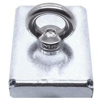 New 1Pc 75*55*15Mm Neodymium Iron Boron Block Magnet With Circular Eyebolt Rings For Salvage ( Steel Case)