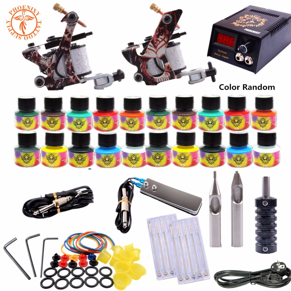 Complete Tattoo 20 Color Kits Tattoo Ink Sets Coils Guns Machine Power Set Needles Beginner Permanent Makeup Supplies Taty professional tattoo kits liner and shader machines immortal ink needles sets power supply
