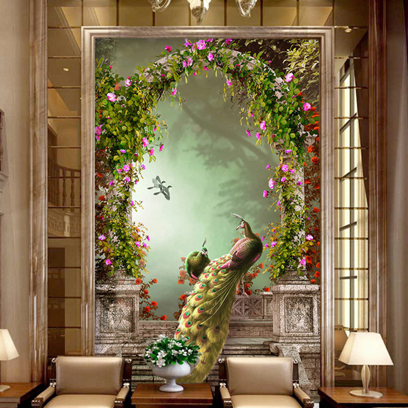Custom 3D Photo Wallpaper European-style Retro Peacock Roman Column Arches 3D Living Room Corridor Aisle Background Wall Mural