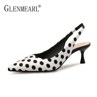 Brand Women Pumps High Heels Shoes Leather Spring Wave Point Single Women Dress Shoes Thin Heels