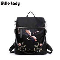 Women Backkpacks Waterproof Nylon 3D Emebroidery Flower Dragon Fly Elegant Backpack For Woman High Capacity Travel