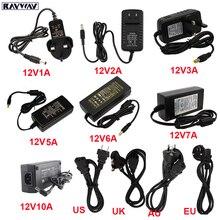 12 فولت امدادات الطاقة محول LED سائق AC110V 240V إلى DC12V محول الإضاءة محول 1A 2A 3A 5A 6A 7A 10A فولت LED مصباح شريط التنغستن