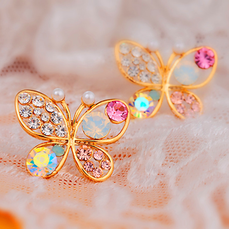 Gold Plated Rhinestone Butterfly dragon Earrings Women Charm Stue ...