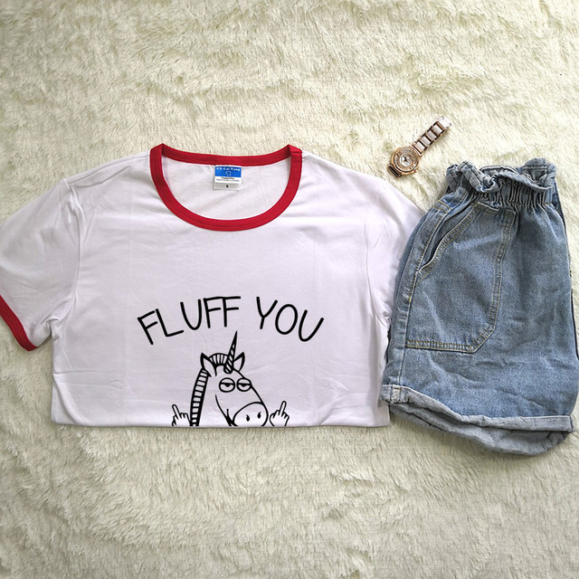 9d685e2a Online Shop Hillbilly Women Harajuku T Shirts Fluff You Funny Horse Unicorn  Casual Tees Letter Print Polyester & Spandex Tee Shirt Girl Gift |  Aliexpress ...