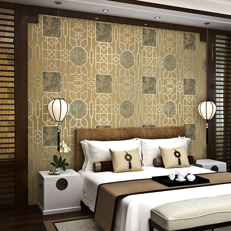 Chinese classical tea house wallpaper PVC waterproof and moistureproof study bar engineering wall wall wallpaper