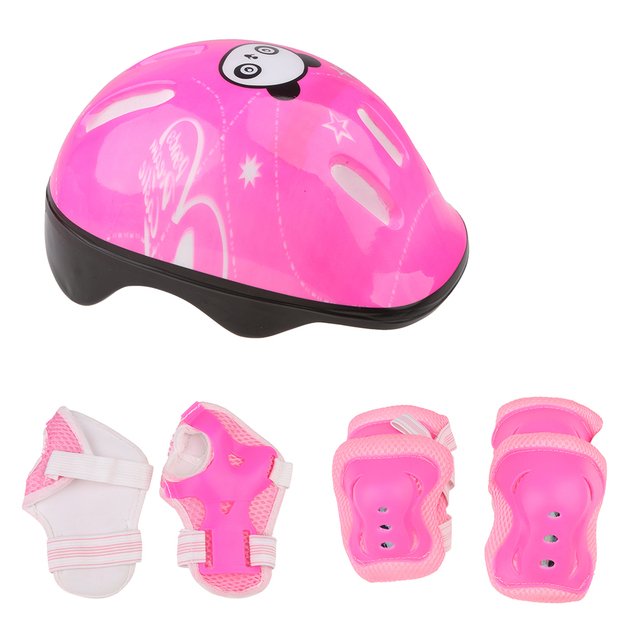 Adjustable 7 Pcs Kid Roller Skating Bicycle Helmet Knee Wrist Guard Elbow Pad Set for Child Cycling Sports Protective Guard Gear 3