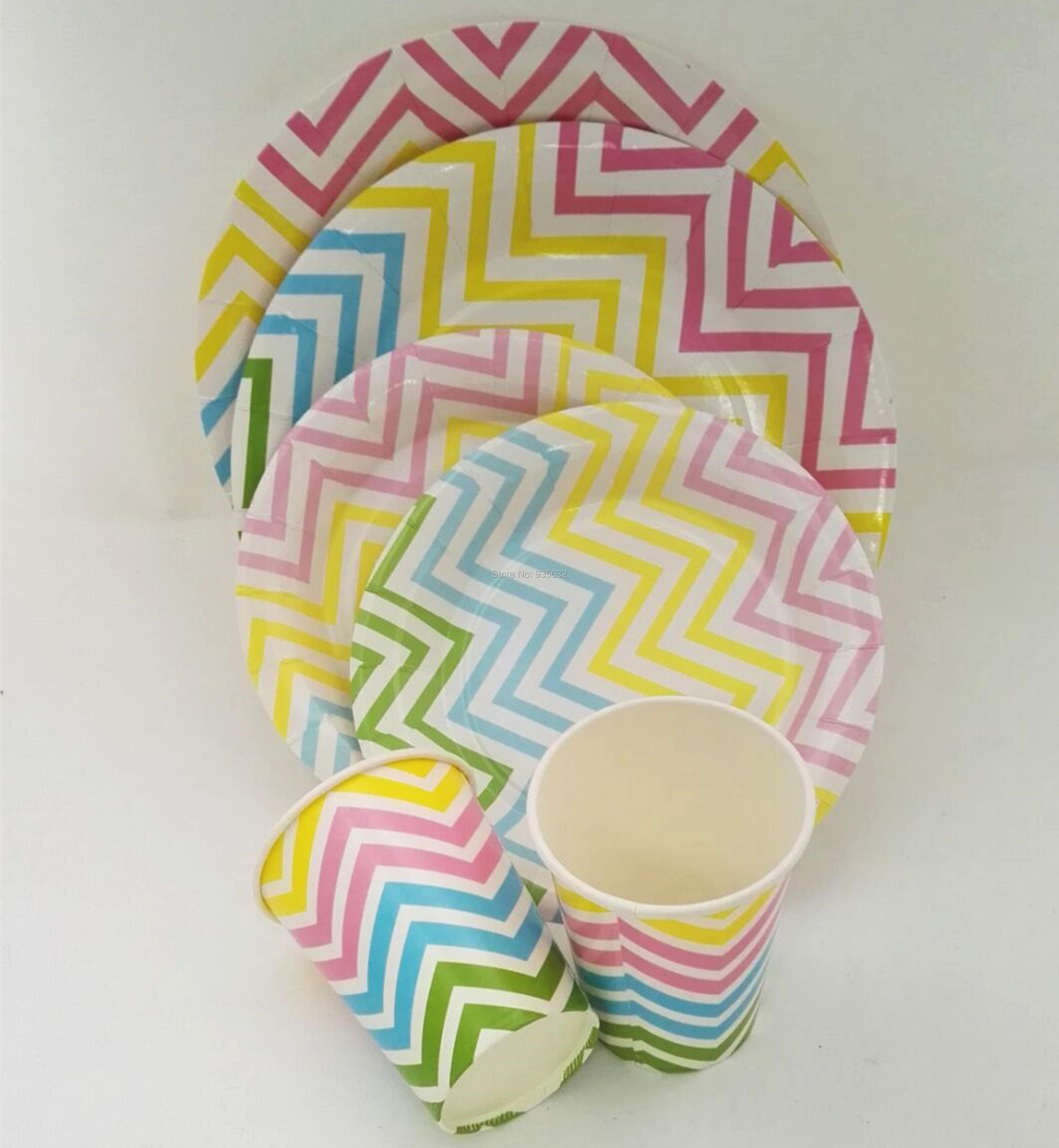 72pcs New Hot Sell Colorful Chevron Party Tableware Set 9 7 Paper Plate Cup for Wedding Birthday Supplies