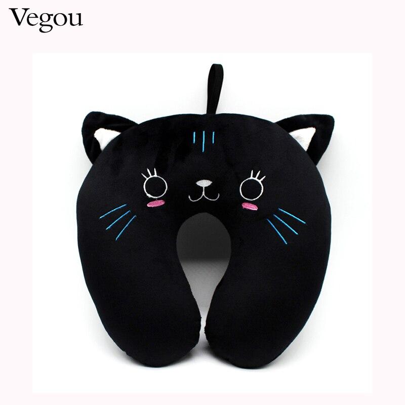 Fashion Cute Black Cat U Shaped Travel Pillow Best Choice