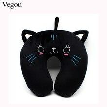 Moda Lindo Gato Negro en forma de U Almohada de Viaje Mejor Opción Para El Uso Del Recorrido Para El Hogar Cuello Almohada Almohada Travesseiro Kissen
