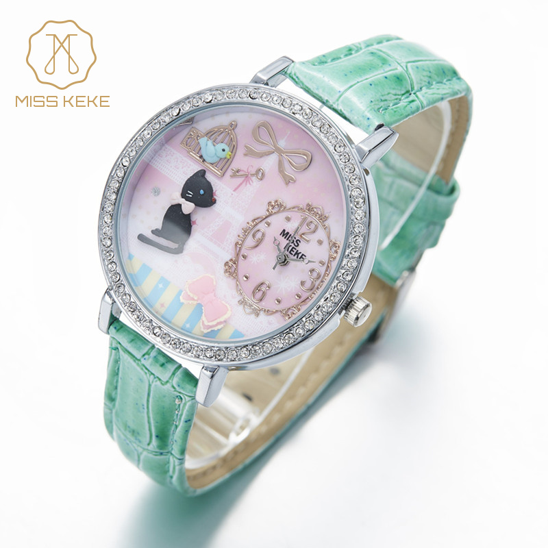 MISS KEKE Cute Kids 3D Clay Cat Cartoon-Watch Diamond Quartz Watches Children Girls Leather Dress Wristwatch 1059 montre enfant купить