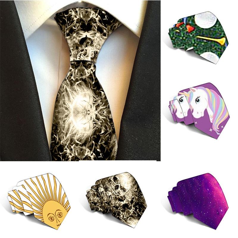 New Polyester Ties For Men 8 Cm Classics Gravata Business Unicorn Pattern Mens Tie Luxury Wedding Accessories Necktie 5S-LD33
