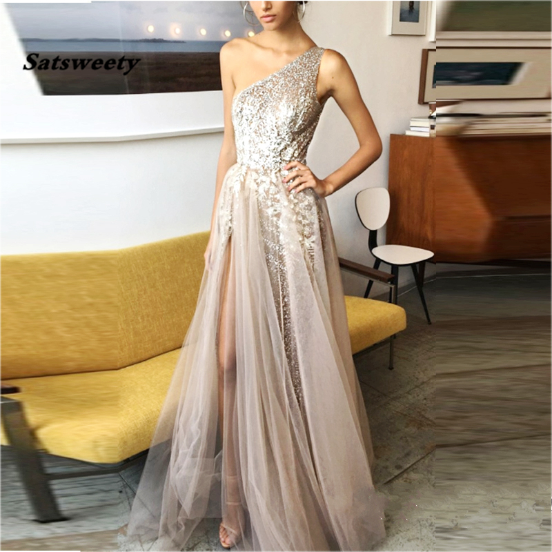 Charming Khaki Tulle Long   Prom     Dresses   One Shoulder Illusion Side Split Lace Sexy Evening Gowns Summer Autumn Party   Dresses