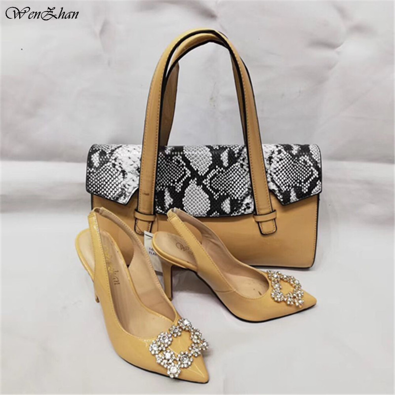 WENZHAN Top Grade with Snake PU leather Style 10CM high heel fashion soft shoes pointed toe pumps Match Women HandBags A95-6WENZHAN Top Grade with Snake PU leather Style 10CM high heel fashion soft shoes pointed toe pumps Match Women HandBags A95-6