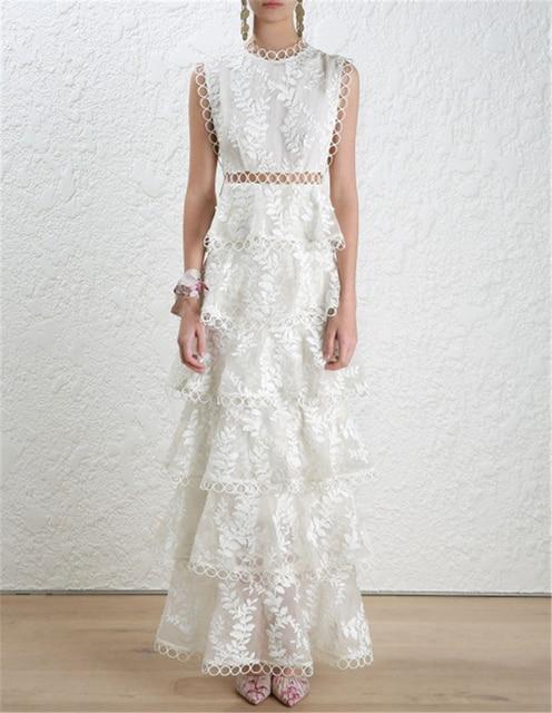 High Quality Women Autumn Winter Dress 2018 Self Portrait White Tiered Lace Maxi Las Party