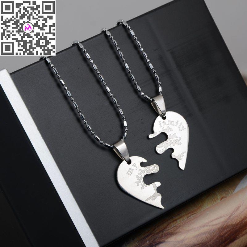 2pcs Couple Lovers Necklaces & Pendants 316l Stainless