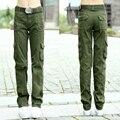 2017 primavera calça casual calças ao ar livre de multi-bolso ferramental solto reta calças militares calças Verdes Exército Mulheres Z960