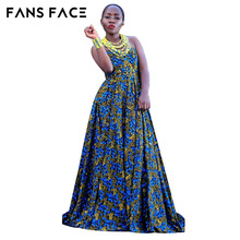 FANS FACE African dress for Women 2017 Summer Casual Sleeveless Traditional African Print Party Dress new dresses(China)