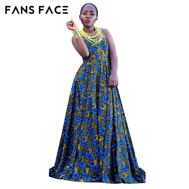 FANS FACE  African dress for Women 2017 Summer Casual Sleeveless Traditional African Print Party Dress new dresses