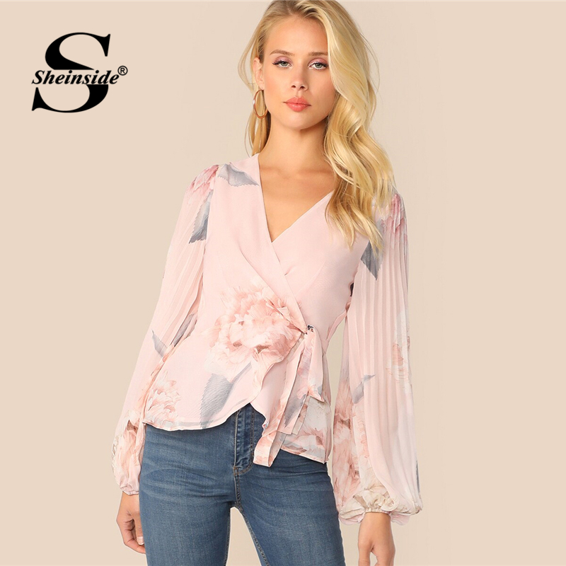 Sheinside Elegant Lantern Sleeve Blouse Women 2019 Spring Pleated Floral Print Blouses Ladies Pink V Neck Wrap Chiffon Top