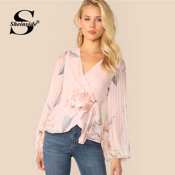 Sheinside Elegant Lantern Sleeve Blouse Women 2019 Spring Pleated Floral Print Blouses Ladies Pink V Neck Wrap Chiffon Top - DISCOUNT ITEM  45% OFF All Category